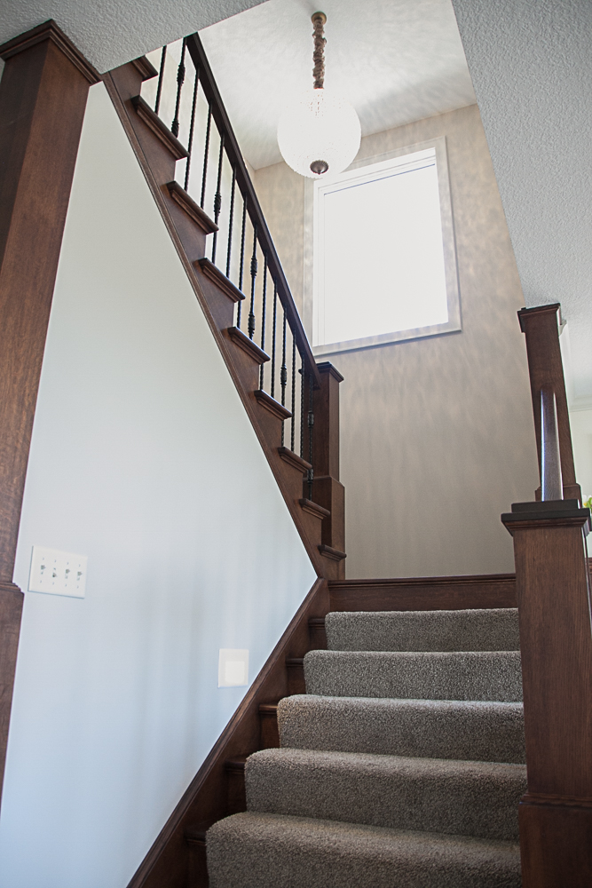 Plymouth, MN custom two story home Wrought Iron Staircase