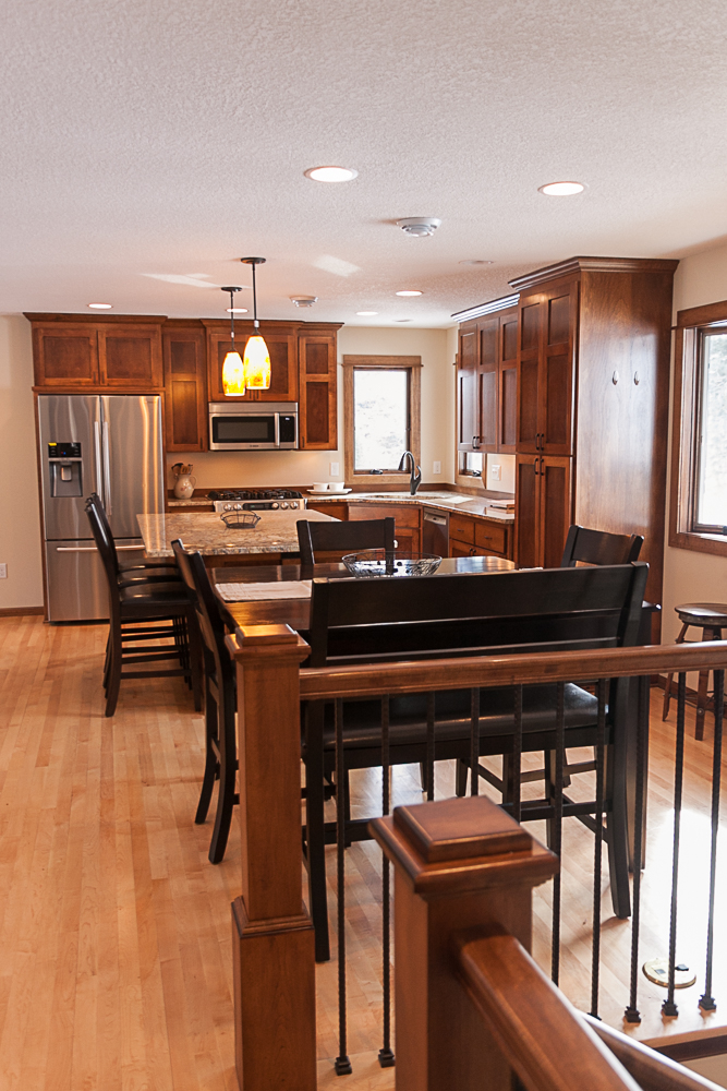 Kitchen Remodel Elk River MN Maple Flooring Custom Birch Cabinetry