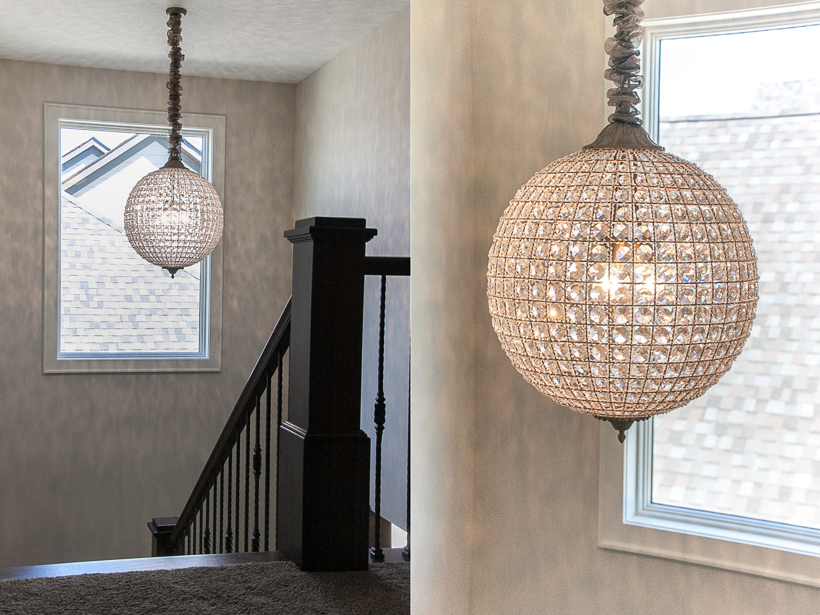 Plymouth, MN custom two story home Staircase Chandelier Lighting