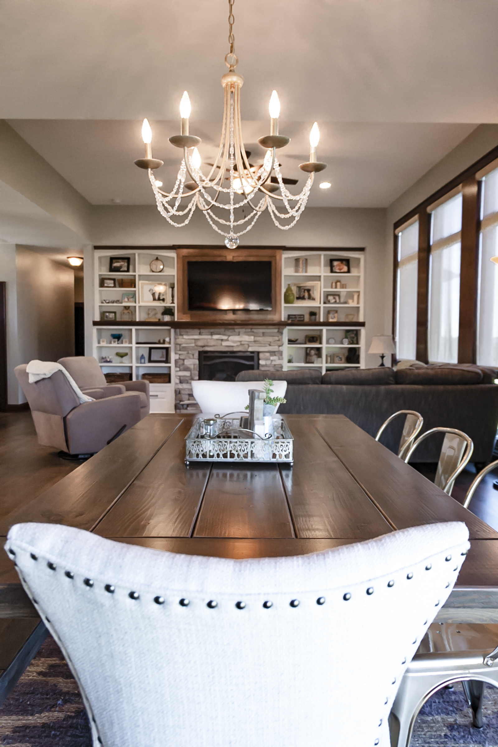 The Rustic Stain Blend Used For Flooring And Table Is Also An Accent Tone Found Throughout Granite Counter Tops Barn Door Of Walk In Kitchen