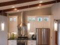 Fridley MN Kitchen Remodel White Custom Cabinets Wood Beams Soapstone Counter tops