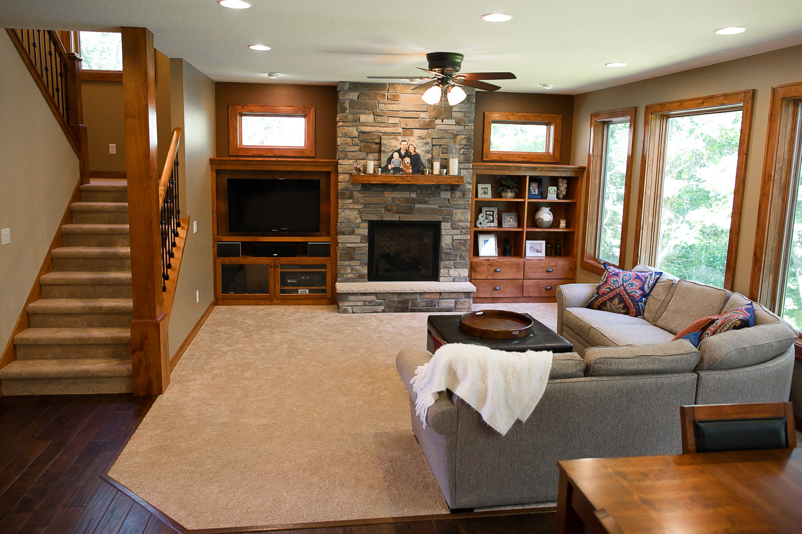 New Home Construction Ramsey MN Custom Cabinetry Stone Fireplace