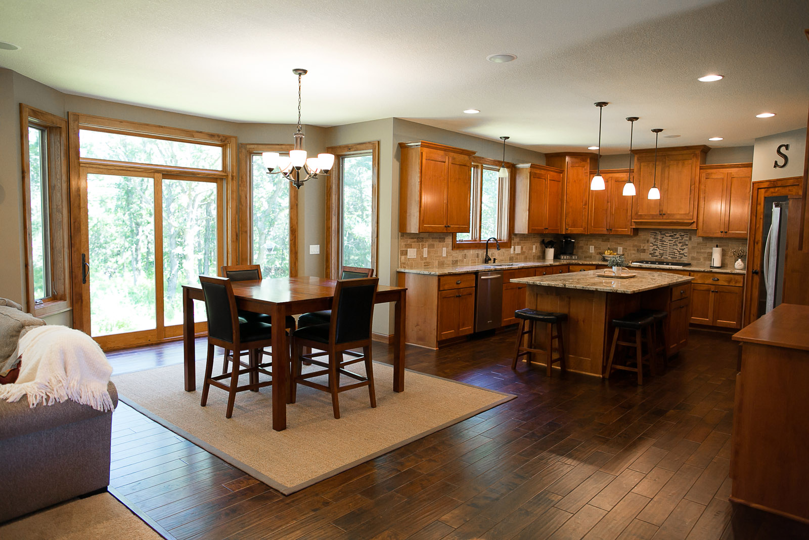 New Home Construction Ramsey MN Custom Cabinetry Wood Flooring Custom Kitchen